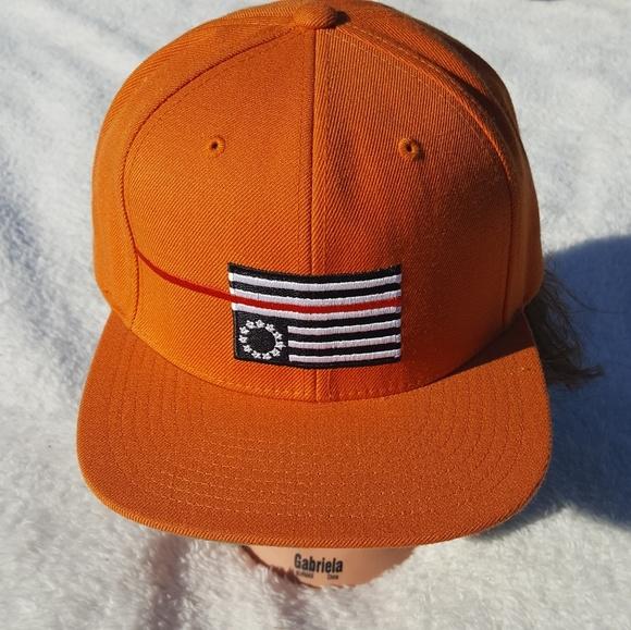 Black Scale Accessories Orange Adjustable Hat Upside Down Flag